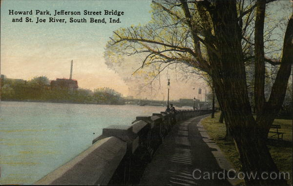 Howard Park, Jefferson Street Bridge and St. Joe River South Bend Indiana