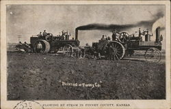 Plowing by Steam in Finney County Postcard