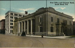 Post Office and Citizen's Bank Postcard