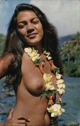 Nude Tahitian Girl with Flowers