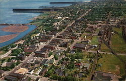 Aerial View of City on Lake Superior