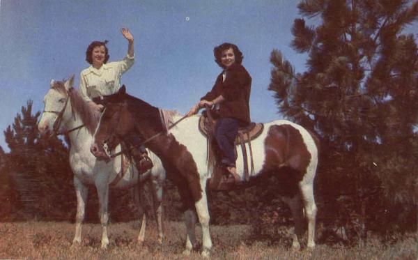 Girls Riding Indian Ponies Cowboy Western Horses