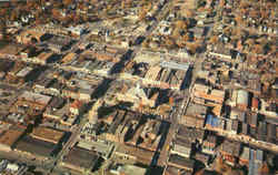 Aerial View Of Uptown Business District Historical Independence Postcard