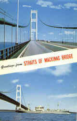 Greetings From Straits Of Mackinac Bridge