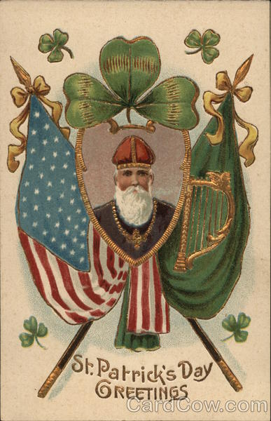 Image of St. Patrick Amid Flags and Shamrocks St. Patrick's Day