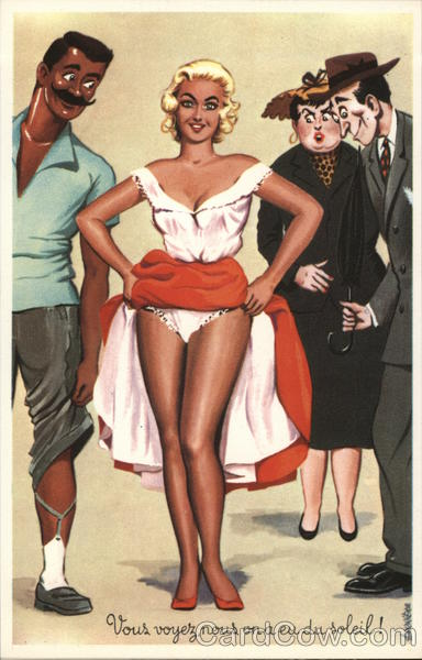 Blond Woman Lifting Her Skirts While Others Look Swimsuits & Pinup
