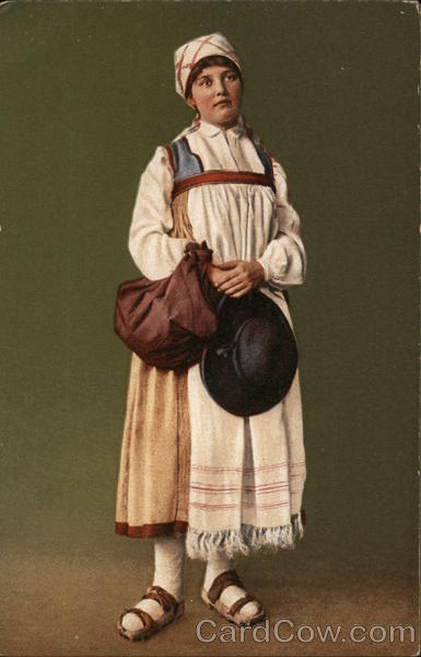 Woman Wearing White Kerchief, Sandals, Holding Hat