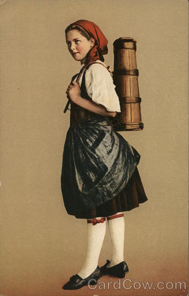 Girl with Red Kerchief Carrying Wooden Container on Back