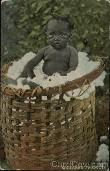 Southern Products - Black Baby in Basket of Cotton