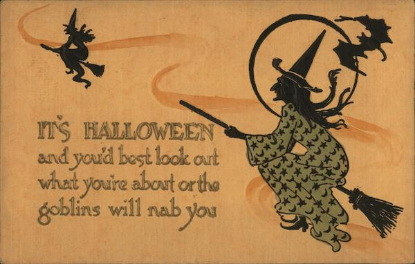 Embossed Two Silhouettes of Witches Riding Brooms Halloween
