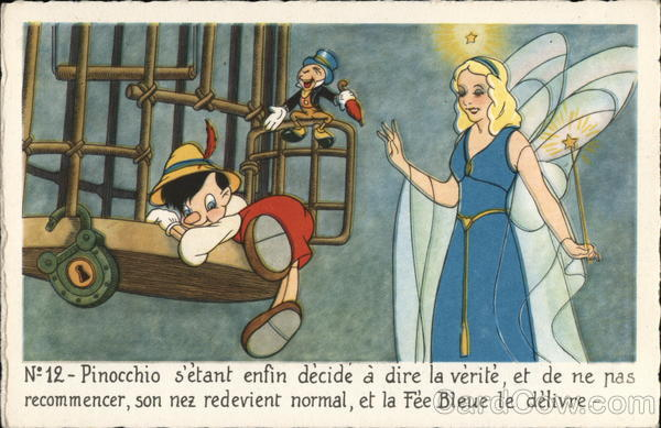 Pinocchio Climbing out of Cage near Fairy Disney