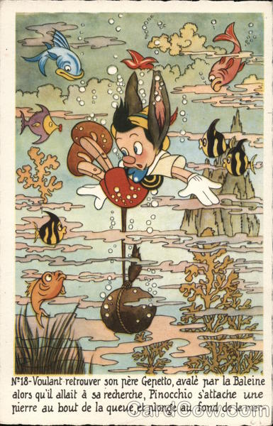 Pinocchio Underwater with Fish and Coral Disney