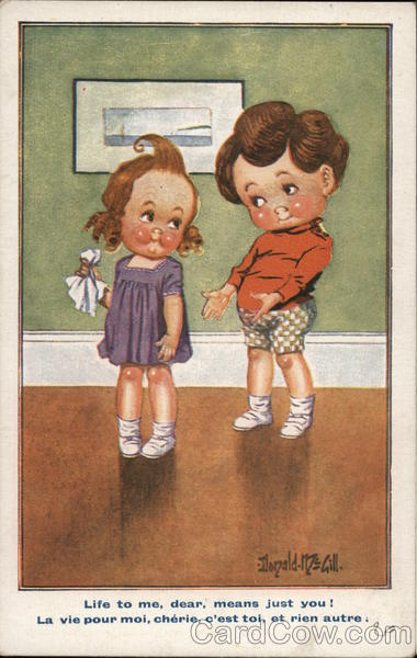 Boy Talking to Girl Holding Handkerchief Children