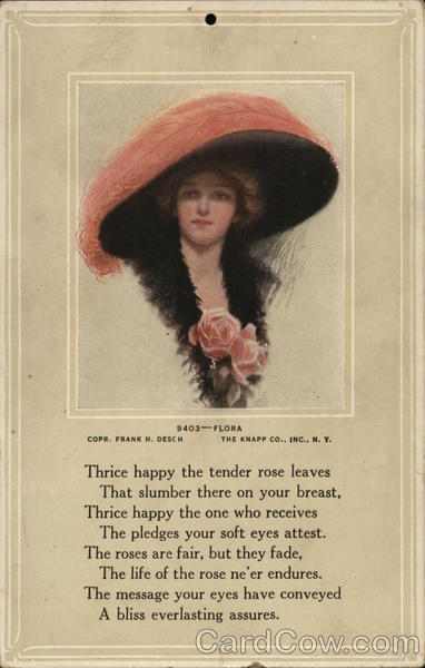 Woman in Large Pink Hat and Pink Roses at Bosom Women