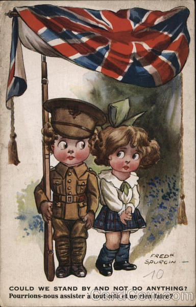 Boy Soldier with Rifle Next to Girl Fred Spurgin World War I