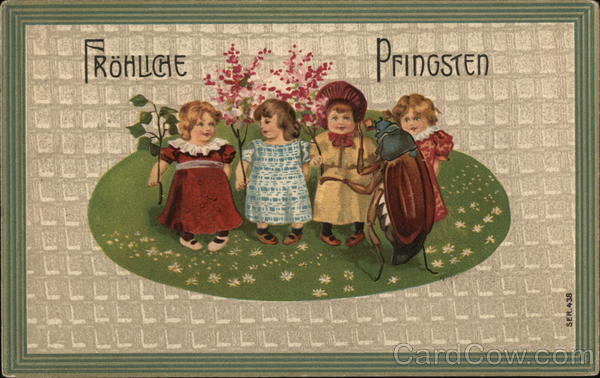 Frohliche Pfingsten - Four Young Girls with Large Insect