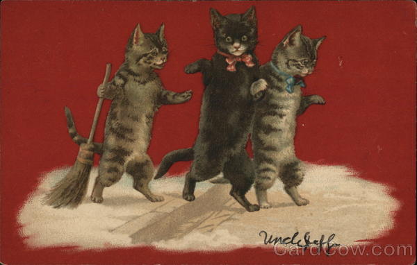 Three Cats Standing on Hind Legs, One with Broom