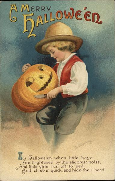 A Merry Halloween - Boy Holding Jack-o-Lantern and Knife