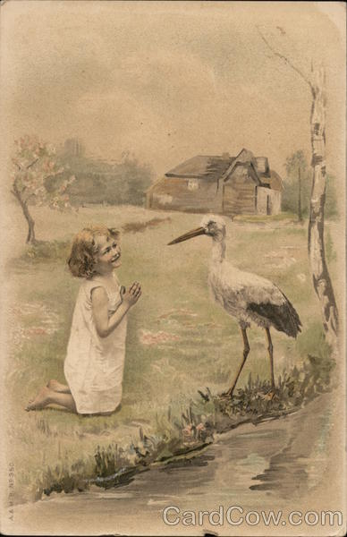 Precious Little Girl with Water Fowl Storks