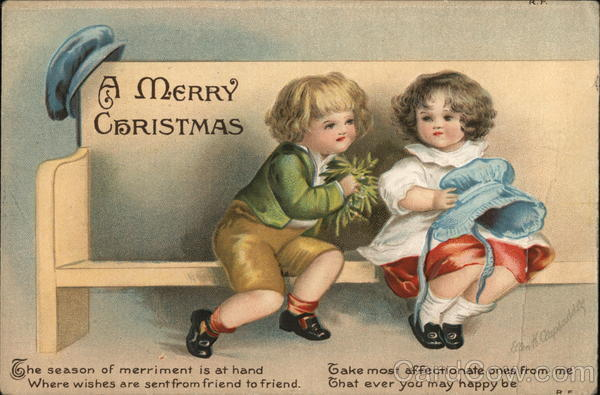 A Merry Christmas - Two Young Children Seated on Bench