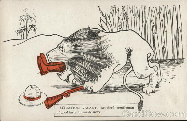 Lion Swallowing Man, Boots Sticking Out of Its Mouth