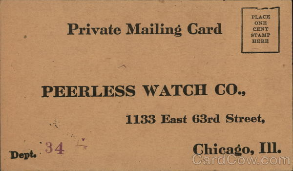 Correspondence Card from Peerless Watch Co. Advertising