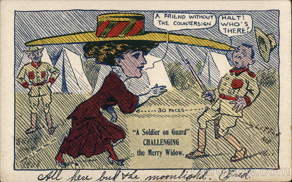 A Soldier on Guard Challenging the Merry Widow. Comic, Funny