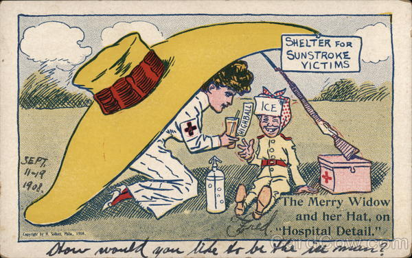 Nurse and Injured Person Beneath Huge Yellow Hat Comic, Funny