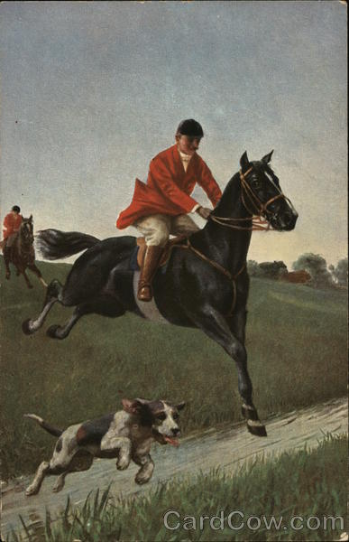 A Horse and Rider with Dog Hunting