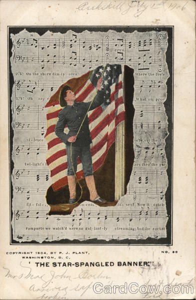 Soldier with Flag Overlay on Sheet Music Patriotic