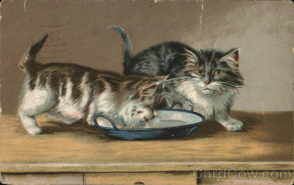 Two Kittens at Bowl of Milk, One is Drinking Maurice Boulanger