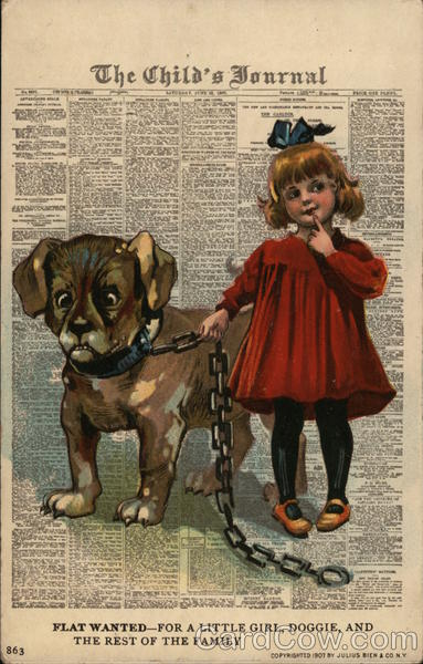 Girl in Red Dress Holding Dog on Thick Chain Dogs