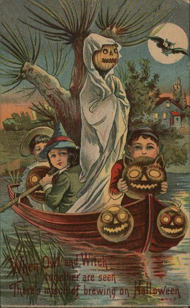 Youngsters in Boat with Masks, One in Costume Halloween