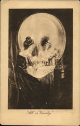 Metamorphic Skull Woman Seated at Vanity with Large Mirror