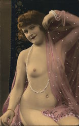 Nude Woman Seated with Strands of Pearls, Sheer Pink Scarf Postcard
