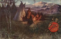 Indians around fire and teepe - IORM