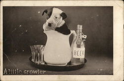 Puppy Situated Inside Pitcher Next to Glass and Beer Bottle