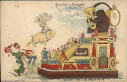 Parade Float with Winged Lion, Flying Pig, Bear Playing Horn