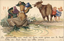 Bloated Frog Sips Tea While Cow and Children Snicker
