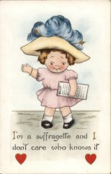 Suffragette Young Girl with Large Plume in Hat Holding Voting Ballot