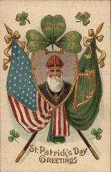 Image of St. Patrick Amid Flags and Shamrocks
