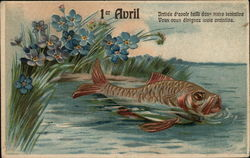 Fish in Water Near Blue Flowers - 1er Avril