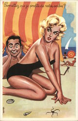 Blond Woman in Revealing Black Swimsuit with Man Nearby
