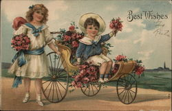 Boy and Girl with Rose Bouquets - Boy in Carriage Postcard