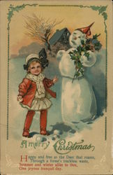 A Merry Christmas with a Young Girl and Snowman