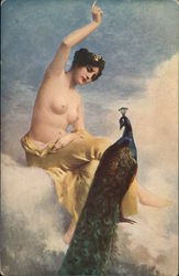 Woman with Yellow Draping Seated Near Peacock