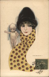 Woman Wearing Fur Cap, Polka-Dot Scarf - Kewpie on Shoulder