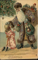 Santa in Purple Robe with Girl
