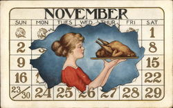 November Calendar with Woman & Turkey