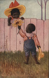 Black Boy Handing Black Girl a Yellow Flower Over Fence